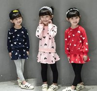 Wholesale Girls Pantskirts - Autumn New Girl Fashion Sets Love Heart Long Sleeve Sweatshirts Pantskirts Outfits Children Clothing 3 colors available