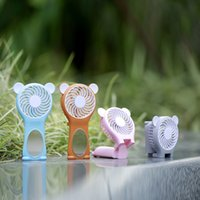 Barato Mini Mesa De Estudante-Portable Mini USB Handheld Fan Rechargeable Pocket Folding Fan Estudantes Lovely Bear Mirror 2 Velocidades ajustável Desk Table Fan