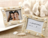 Wholesale Wedding Frame Card Holder Wholesale - Beach Theme Seaside Sand and Shell Resin Wedding Place Card Holder Mini Photo Frames Gift Free Shipping ZA3810