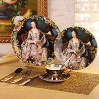 ingrosso set di piatti della cena della porcellana-Set da 8 pezzi Bonechina Set da tavola con piatti, piatti di insalata, coltello da tavola, forchetta per cena, tazza da tè, piattino, cucchiaino da caffè, cucchiaino per la cena