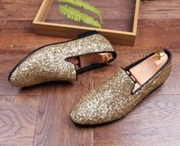 Wholesale Shoes For Gold Sequin Dress - New Designer Men Glitter Gold silver Black Sequins pointed Shoes Loafer For Male Party Dress wedding shoes moccasins Groom shoes GG143