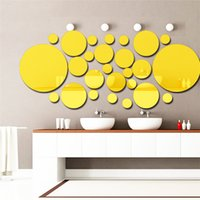 Wholesale Wall Stickers Circles - 3D Circle Wall Stickers DIY Mirror Combination Personalised Wall Stickers Acrylic Decals Home Large Walls Decor