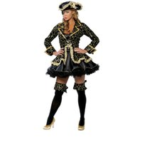 Wholesale Sexy Costumes Pirates - 5 pcs Sexy Pirate wench lady Halloween cosplay costume set for adults women Nightclub wear party dress outfit with hat patch