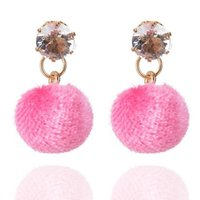 2017 New Design Charm Women Charm Earrings Lady Rhinestone Ball Pingente Stud Earrings Moda Frete grátis