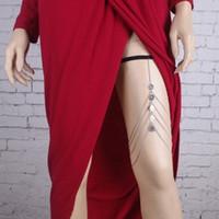 ingrosso monili delle monete della donna-Trendy Womens Leg Chain Multi Layer Coin Tassel Silver Tone Elastic Strap Bohemian Body Jewelry Catena catena del corpo