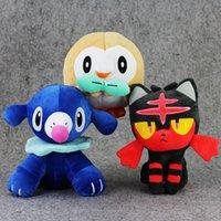 "Wholesale Wholesale Stuffed Animals For Babies - Poke Doll Pikachu Plush Popplio Rowlet Litten Stuffed Animals Toy For Baby Gifts (3pcs Lot   Size: 7""-8"" )"