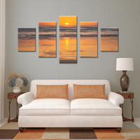Wholesale Ocean Waves Landscape Paintings - NO FRAME CANVAS ONLY 5 pieces Sunset on the beach with screw ocean wave wall painting printed on canvas home decor Free Shipping