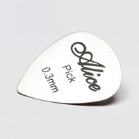 Wholesale Metal Alice - Wholesale- SEWS Alice 5pcs 0.3mm Metal Acoustic Electric Guitar Bass Rock Pick Durable Stainless Steel Thin Standard Size