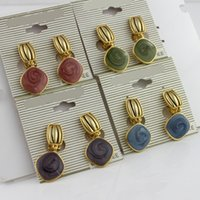 Wholesale Ear Cuffs Stones - Four Colors Natural Stone Clip Earrings Without Piercing Rhodium Plated Oorbellen For Women Party Ears Cuff Bijoux ER727