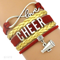 Wholesale Cheerleader Charms For Bracelets - (10 Pieces Lot)Infinity Love Cheer Cheerleader Microphone Charm Leather Wrap Cuff Bracelets For Women Men Girl Jewelry