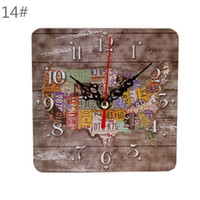 Wholesale Wooden Digital Wall Clock - Square Creative Wall Clock Artistic Silent Rustic Clock Cafe Bar Home Office Small Wooden Wall Clock Vintage Decoration 2PCS lot