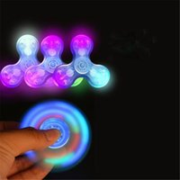 Wholesale Lighted Novelty Items - Tri Light up Hand Spinners LED Bright Fidget Spinner Newest Triangle Finger Spinner Glow Gifts Transparent Colorful Novelty Item Toys