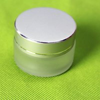 Wholesale Wholesale Frost Container - Wholesale- 20G frosted glass cream jar,cosmetic container,Cosmetic Jar with matt silver lid glass bottle