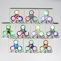 Wholesale Wholesale Fingertip Lights - 2017 LED Fidget Spinner Camouflage Camo 10 Colors Colorful ABS EDC Spinners with light Gyro American Flag Hand Tri Fingertip in Retail Box