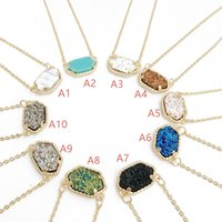 Wholesale Plastic Pendant Charms - Fashion Drusy Druzy Necklaces Earrings 10 colors Gold Silver Plated Kendra Resin Geometry Stone Necklace Earrings Jewelry For women