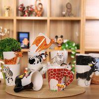 bone china tea cups wholesale Canada - Creative Animal Elephant Shaped Handle Mug Creative Design Ceramic Coffee Milk Tea Mug 3D Animal Shape Panda Cup ZA2252