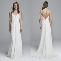 Wholesale Cheap Spaghetti Strap Tops - Cheap High Quality 2017 Beach Wedding Dress Sexy Spaghetti Straps Lace Top Backless Chiffon Bridal Gowns with Sash and Sweep Train