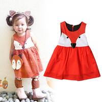 Wholesale Garment Lining Wholesale - Ins Girls Jumpsuits Dresses Fox Cartoon Sleeveless Baby Kids One-piece Garment Girls Slip Dress Summer Skirts