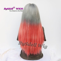 Wholesale Synthetic Two Tone Wigs - Beauty Two Tone Ombre Color Wig Synthetic Grey Red Loose Curl Hair None Lace  Lace Front  Full Lace Wig African American Wigs