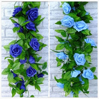 Wholesale Silk Leaf Garland - 2016 New blue and white Artificial Rose Silk Flower Green Leaf Vine Garland for Home Wall weddin Party Decorations 2.4m long