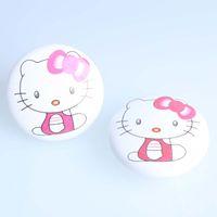 Wholesale Drawer Knobs Kid - 50mm white pink cat ceramic knobs kitty porcelain drawer shoe cabinet knobs cartoon children room furniture kids knobs