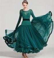 Wholesale Ballroom Dress Waltz - 5Color Green Blue Adult Girl Ballroom Dance Dress Modern Waltz Tango Standard Competition Dance Dress Mesh Stitcing Long Sleeve Dress