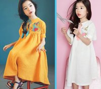 Wholesale Linen Style Clothing - Retail 2017 Summer New Girl Dresses Embroidery Linen Cotton Dress Parent-child Clothing 91703