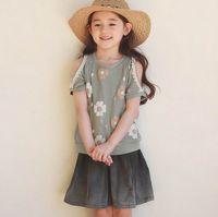 Wholesale Skirt Phelfish - Phelfish 2017 Summer New Girl Sets Flower Off Shoulder T-shirts+Skirt Two Piece Fashion Outfits Children Clothing 3-8Y 16247
