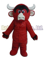 Wholesale Green Adult Mascot Costume - bull mascot costume EMS free shipping, cheap high quality carnival party Fancy plush walking Red cow mascot adult size.