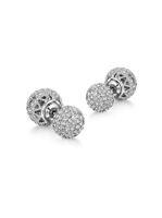 Wholesale Tiny Silver Balls - Luxury Silver Color Hollow Double Ball Stud Earrings Symmetrical Heart Romantic Cloud Tiny CZ Cubic Rhinestone Women Ear Neoglory Jewelry
