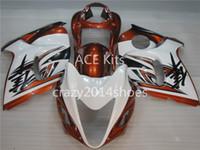 turuncu beyaz hayabusa toptan satış-5 ücretsiz hediyeler Yeni ABS motosiklet Fairing Kitleri 100% SUZUKI GSXR1300 Hayabusa 2008-2014 Için Fit iyi güzel turuncu ve beyaz Makale no.322