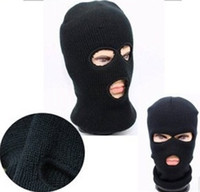 Wholesale Cheap Winter Face Masks - Loveslf 2016 new full face cover ski mask three holes knitted hat winter stretch snow mask comfortable and cheap military mask