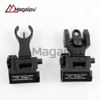 Wholesale Troy Front Rear Sights - Magaipu Whosale Tactical Metal Iron Troy Front And Rear Folding Battle Sight Set Airsoft Hunting Accessories