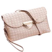сумка-конверт с обложкой конверта оптовых-Wholesale- Women Handbags Weaved Leather Lady Cross Body Shoulder Bags Money Phone Envelope Bag Woman Messenger Casual Tote Bags B40-219
