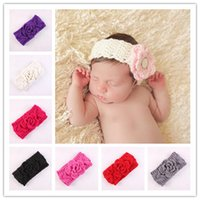 Wholesale Hair Ribbon For Crochet - Infant Flower Crochet Headbands Baby Knit Hair Bands Head Wrap Holiday Gift For Children Hair Accessories 8 Color 8 pcs