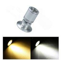 ingrosso lampade led 24v-regolabile-passo 1w LED Mini Surface Mounted luce led da incasso gioielli armadio lampada luce spot 85-265 v luce led dell'armadio, argento / nero LL