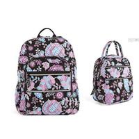 sacos floridos para a escola venda por atacado-Saco de escola da trouxa do portátil do Campus do saco de escola da flor do algodão com saco do almoço