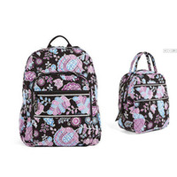 Wholesale backpack clear - Cotton Flower School Bag Campus Laptop Backpack School Bag with lunch bag