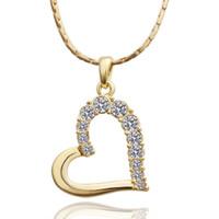 ingrosso pendente del cuore giallo-Collana di gioielli in cristallo bianco oro giallo vendita calda per le donne DGN512, collane del pendente della gemma dell'oro del cuore 18K con le catene