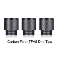 Wholesale new baby arrival - New Arrival Carbon Fiber TFV8 Drip Tips Flat wide bore 810 Drip Tip for TFV8 BIG BABY TFV12 Atomizers electronic cigarette