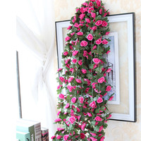 Wholesale Wedding Decoration Promotions - Promotion Artificial Rose Vines Silk Vine Fake Flower Plant Garlands Home Wedding Garden Decoration