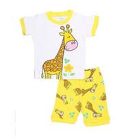 Wholesale giraffe baby clothes - Yellow Giraffe Cute Baby Girls Clothes Suits Cotton Summer Short Sleeve T-Shirts Shorts Pants Infant Pajamas 2pcs Sets 2-7Years Pyjamas Tops