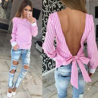 Wholesale Halter Bowknot - Blouse Office Lady Woman pink Striped halter bandage big bowknot Lantern Sleeve Box Pleated Peplum Top Womens Elegant Long Sleeve Blouse