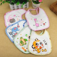 Wholesale Carton Set Girl - Wholesale- 3Pcs set Cute Carton Character Knitted Cotton Funny Baby Bibs Handmade Burp Cloths Infant Newborn Baby Boy Girl Saliva Towel