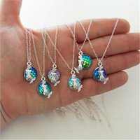 Wholesale Cheap Acrylic Gem Necklace - Fahion Mermaid Pendant Necklaces Original 12mm Fish Scales Time Gem Cabochon Necklace Cheap Jewelry Wholesale Small Gift