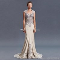 Wholesale High Neckline Backless Prom Dress - vintage high neckline mermaid satin Arab Dubai evening dresses 2018 heavily embroidery crystals beaded sweep train formal evening gowns