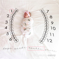 Wholesale Mat Cloth - New Baby photography background blanket photo prop Baby backdrops infant Cotton Swaddling wrap soft Number print cloth mat 4 Colors BHB27