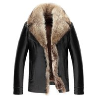 Wholesale Raccoon Leather Fur Coat - Mens Winter Coat Fur Inside Leather Jacket Real Raccoon Fur Hood Luxury Outwear Overcoat Warm Thickening Tops Plus Size 4XL 5XL 2017 Hot