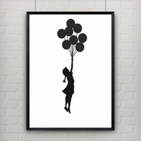 Wholesale Oil Painting Calligraphy - Girl With Balloons by Banksy Print Abstract Modern Graffiti Art Canvas Painting Poster Provocative Humor Wall Picture NO Frame