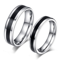 Wholesale titanium couple ring black - Stainless Steel Circle Black Rings Blank Tail Finger Rings Couple Ring for Women Men Lovers Jewelry Gift DROP SHIP 080194